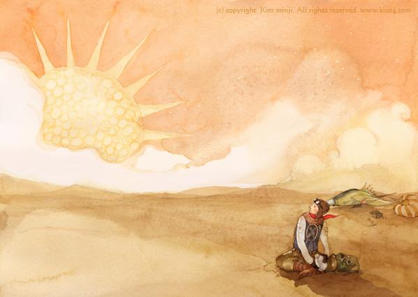 小王子 小王子图片 飞行员在撒哈拉沙漠