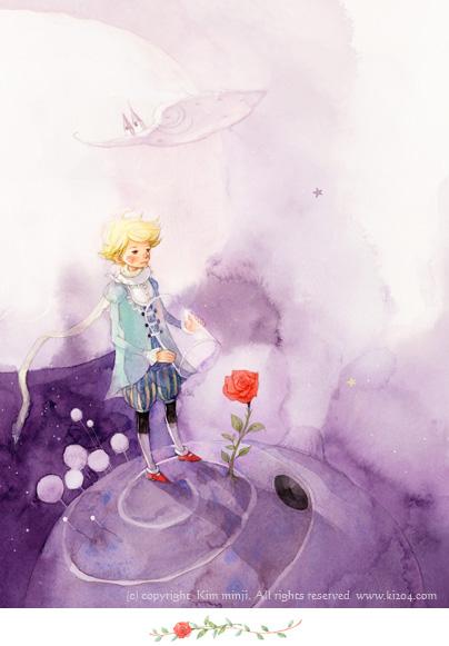 小王子 小王子图片 小王子给玫瑰罩上玻璃罩