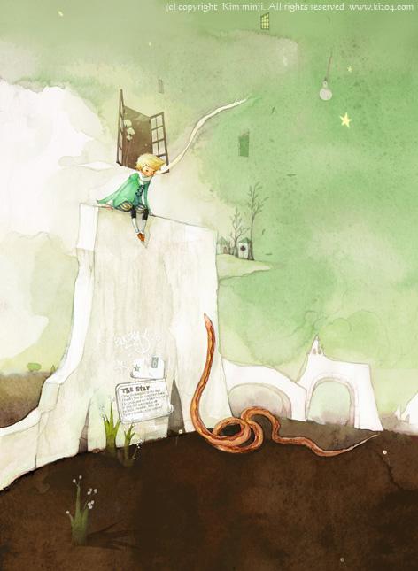 小王子 小王子图片 小王子和毒蛇说话